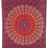 Anita Mandala Tapestry Medium Red Hippie Tapestry Bohemian Indian Block Print Wall Hanging Beach Blanket Bedspread Backdrop Ethnic Wall Art