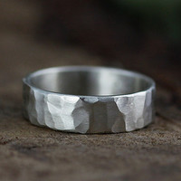 silver hammered band 5mm