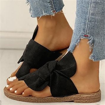 New style all-match flat-bottom non-slip bow large size women's shoes slippers