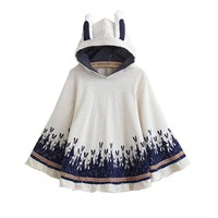 Rabbit Print Loose Hooded Jacket with Ear
