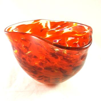 Handmade Art Glass Bowl, Orange and Red, Fall Gift, Discounted