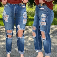 Outlaw Jeans- Very Distressed, Little Stretch Boyfriend Jeans