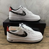 Morechoice Tuhz Nike Air Force 1 Low Brushstroke Swoosh White Sneakers Casual Skaet Shoes Da4657-100