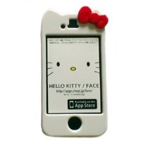 SANOXY Newest iPhone 4G/4S Hello Kitty Face Hard Case/Cover/Protector(White Case with Red Bow)-by Kaleidoscope