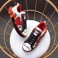 Dolce & Gabbana D&g Portofino Sneakers With Big Red Heart