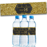 Gold Sweet 16 Party Favors - Gold Glitter Sweet 16 Water Bottle Labels - Gold Sweet Sixteen - Party Decor - Personalized - Bling