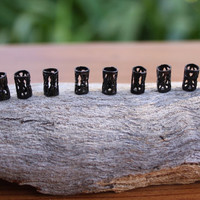 10 mini Black DREADLOCK Beads - DREAD Hair Beads 5mm hole & FREE Tibetan Silver Bead