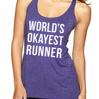 World's Okayest Runner Tank Top, Workout Tank, Gym Tank, Running Tank, Gym Shirt, Running Shirt, running shoes, Fitness tank top