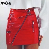 Leather Zipper Accented High Waist Mini Skirt