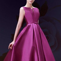 Purple Plunge Neck Bowknot Waist Lacing Back Midi Prom Dress