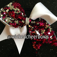 Cheer Bow - White Spandex with Fuchsia/Silver Reversible Sequins