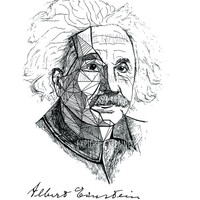 Einstein Art Print - Scientist print Albert Einstein Portrait Ink Drawing - Science Poster (Physics, Math poster) - Wall Decor