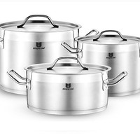 CASSEROLE ss#18/10 INOX LUXURY COOKING POT 7 LITRE UTENSIL STOCK POT STAINLESS STEEL STEW POT