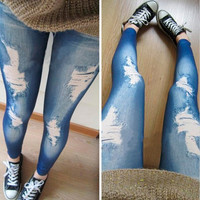 Sexy Fashion Women Slim Punk Ripped Hole Jeans Denim Leggings Pants (Size: One Size)