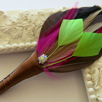 Boutonniere Wedding Groomsmen Brown, Pink ,Burlap, Lime Green, Feather Boutonniere Lapel Pin Buttonhole