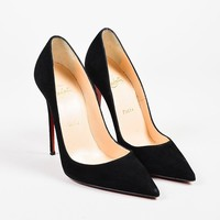 HCXX Christian Louboutin Black Suede Pointed Toe Stiletto   So Kate   Pumps