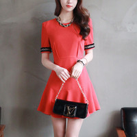 Red Flounced Mini Dress