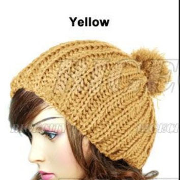 Wooly Knitted Winter Cap Pom Pom Hat