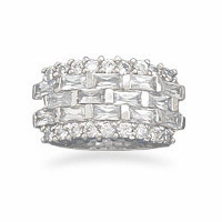 Rhodium Plated Five Row Emerald Cut and Round Cubic Zirconias Ring
