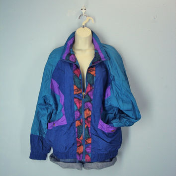 Vintage 80s Windbreaker Jacket, Nylon Windsuit Jacket, Fresh Prince Jacket, Abstract Color Block Jacket, Size L