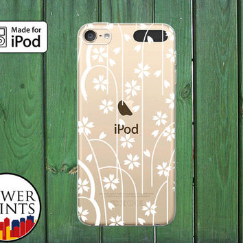 Flowers and Stems Pattern Floral White Tumblr Custom Clear Case For iPod Touch 5th Generation and iPod Touch 6th Generation iPod 5 iPod 6