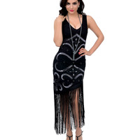 Unique Vintage 1920s Style Black & Silver Sequin Beaded Tennessee Mesh Fringe Flapper Dress