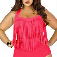 Plus Size Rosy Fringed High-waist Swimwear