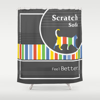 Scratch Sofa Feel Better Shower Curtain by Bad English Cat