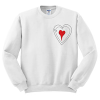 White Crewneck Grinch Heart Ugly Christmas Sweatshirt Sweater Jumper Pullover