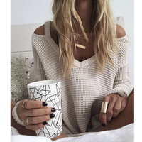 winter women's sweaters v-neck pullover off shoulder oversized pull femme loose fitting women jumper trui sueter mujer sweater