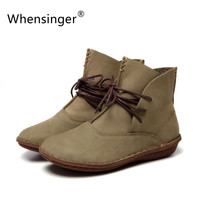 Whensinger - 2016 Women Shoes Spring Female Genuine Leather Boots Handmade Vintage Literary Style Ankle Lace-Up Fashion 506-L