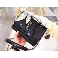YSL sells fashionable casual lady's pure color with silk scarf shopping shoulder bag Black