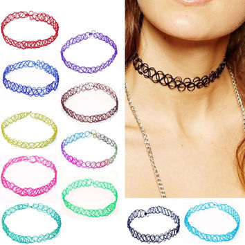 2 pcs. Lot New Collares Vintage Stretch Choker Necklace