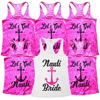 "Funny Bridal Nauti Bride Wedding Shirt and Bridesmaid Tank Tops  - ""Nauti Bride & Lets Get Nauti"" Anchor"