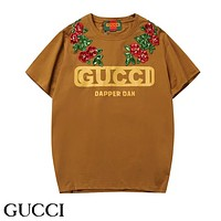 GUCCI Summer New Fashion Letter Print Sequin Floral Sports Leisure Loose Women Men Top T-Shirt Coffee