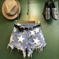 Star Print Ripped Shorts