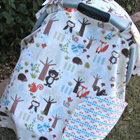 Baby Car Seat Canopy Woodland Creatures