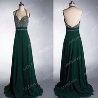 green bridesmaid dress, halter bridesmaid dresses, chiffon prom dress, green bridesmaid dress, long prom dress,  BE0136