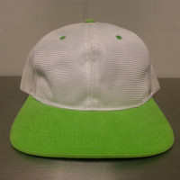 Vintage 90's NWOT New Without Tags Yupoong Polyester Blank White Neon Green Snapback Dad Hat Crafting Golf Cap