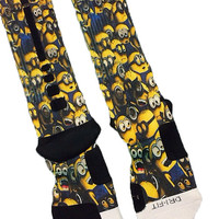 Minions Despicable Me Fast Shipping!! Nike Elite Socks Customized Minion