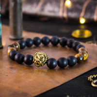 8mm - Matte black onyx & brown tiger eye beaded stretchy bracelet with gold Lion, made to order bracelet, mens bracelet, womens bracelet