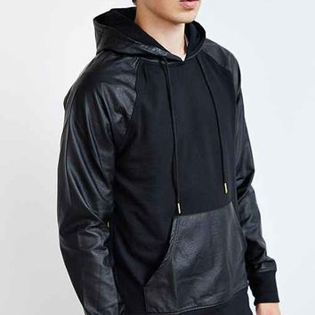 The Narrows Faux-Leather Hooded Sweatshirt- Black