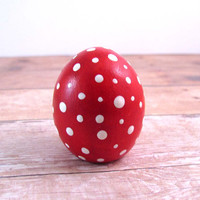 Small Crimson Red  Toadstool Egg Easter Decoration Fantasy Figurine Terrarium Decoration Wedding Decor