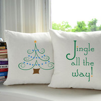 Jingle all the Way Throw Pillows - Holiday Pillow Sets, Christmas Pillows, Home Decor, Christmas Tree Print, Holiday Cushion, Jingle Bells