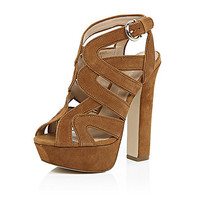 Brown suede caged platform heels - lace up / caged shoes - shoes / boots - women