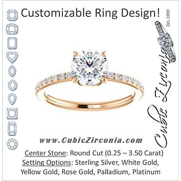 Cubic Zirconia Engagement Ring- The Delilah (Customizable Round Cut Petite Style with 3/4 Pavé Band)