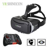 """Hot 3D VR Virtual Reality 3D Glasses VR SHINECON 2.0 Google Cardboard Helmet with Bluetooth Remote Control Gamepad for 4.7-6.0"""""""