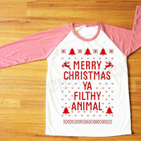 Red Text Merry Christmas Ya Filthy Animal Shirt Merry Christmas Shirt Pink Sleeve Tee Shirt Women Shirt Unisex Shirt Baseball Shirt S,M,L