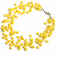 Yellow Necklace. Wedding Necklace. Multistrand Necklace. Bridesmaid Necklace. Beadwork.
