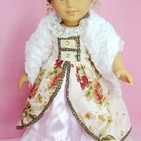 """(BLOW OUT!)** RUBY ROSE ** Elizabethan Age - Elegant Victorian Gown with Furry Hat & Scarf ~ Fits 18"""" American Girl Dolls"""